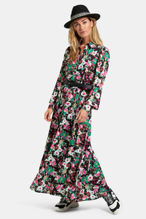 maxi blousejurk Queen met all over print en ceintuur multicolor