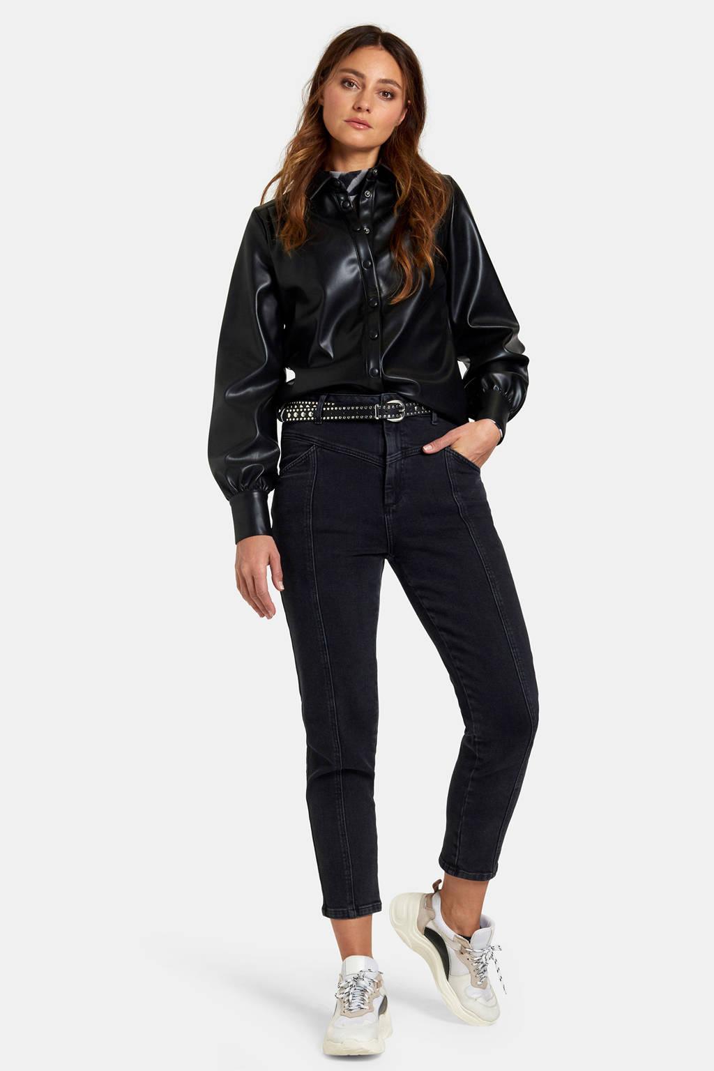 Eksept by Shoeby imitatieleren blouse zwart, Zwart