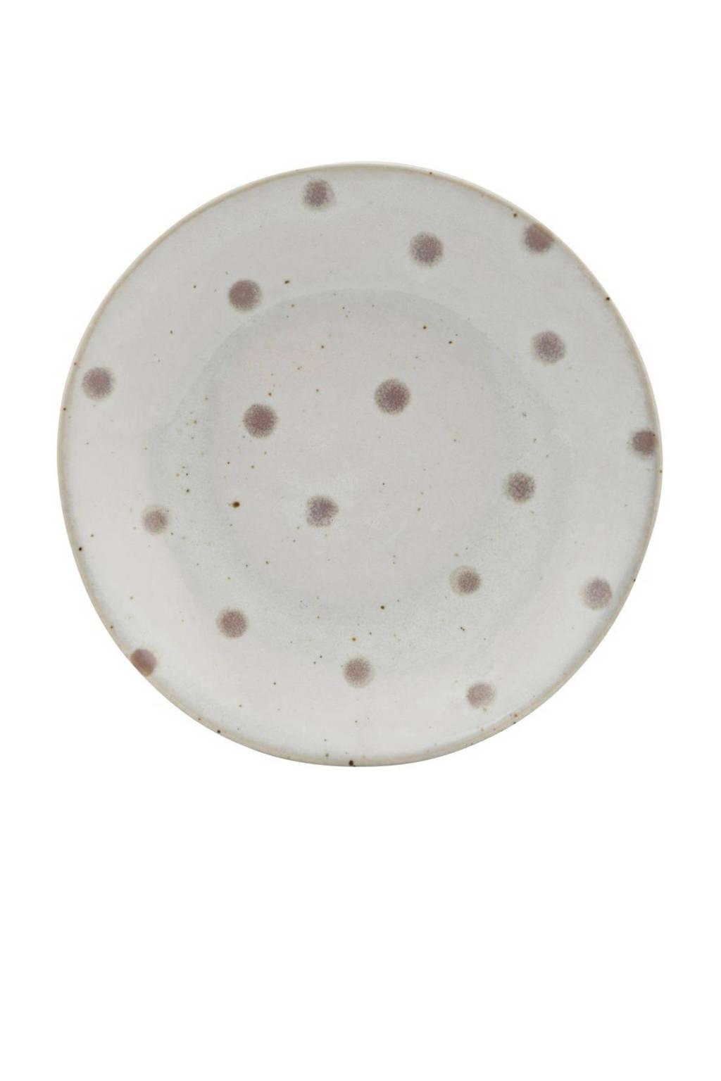 House Doctor gebaksbord  Dots (Ø15,7 cm), Wit//Groen