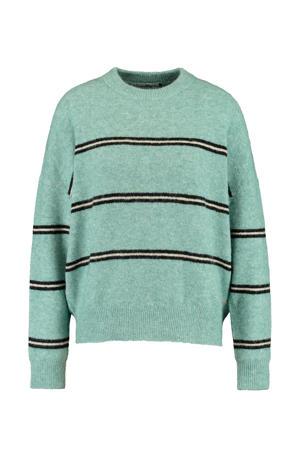 gestreepte gebreide trui groen/zwart