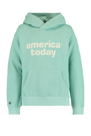 hoodie Sora met logo mintgroen