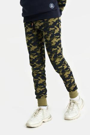 slim fit broek met camouflageprint army groen/donkerblauw