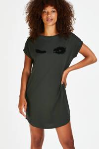 Hunkemöller nachthemd met printopdruk donkergroen, Donkergroen