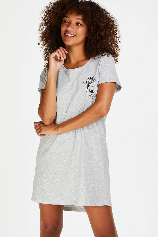Hunkemöller nachthemd met printopdruk grijs, Grijs