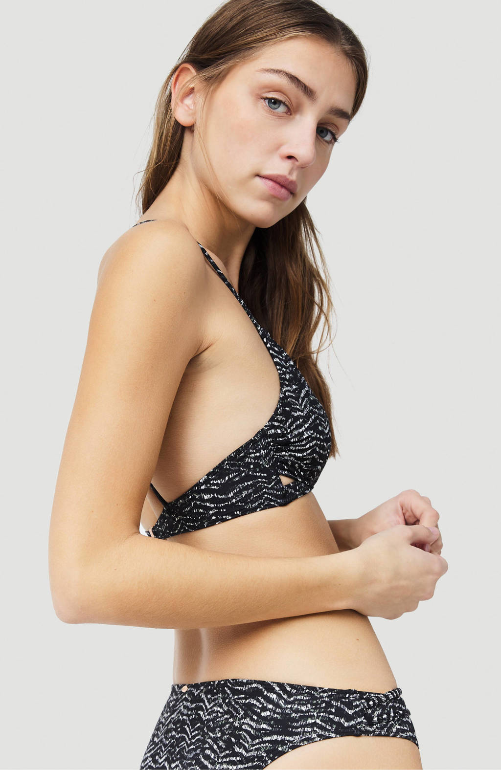 O'Neill triangel bikinitop Baay met all over print zwart/wit, Zwart/wit
