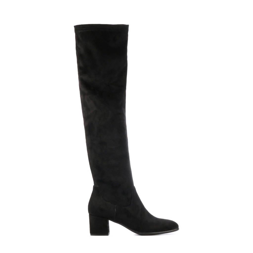 Lamica Quilla  suède overknee laarzen zwart, Zwart