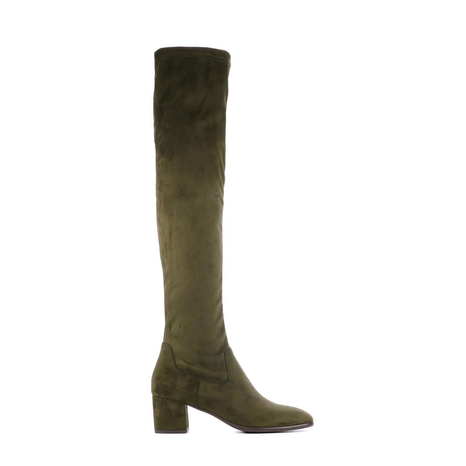 Quilla suède overknee laarzen groen