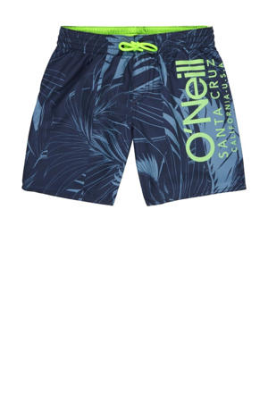 zwemshort Cali met all over print donkerblauw