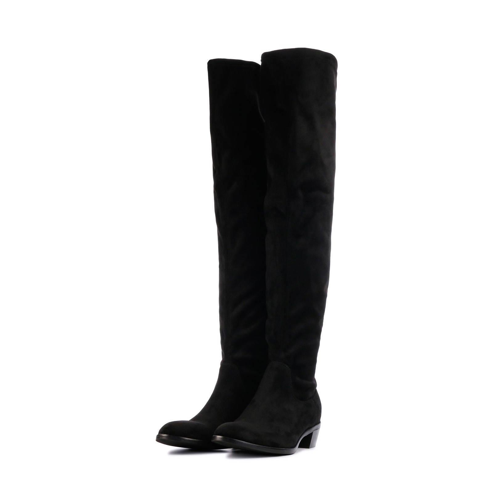 Lamica MNF20 suède overknee laarzen zwart | wehkamp