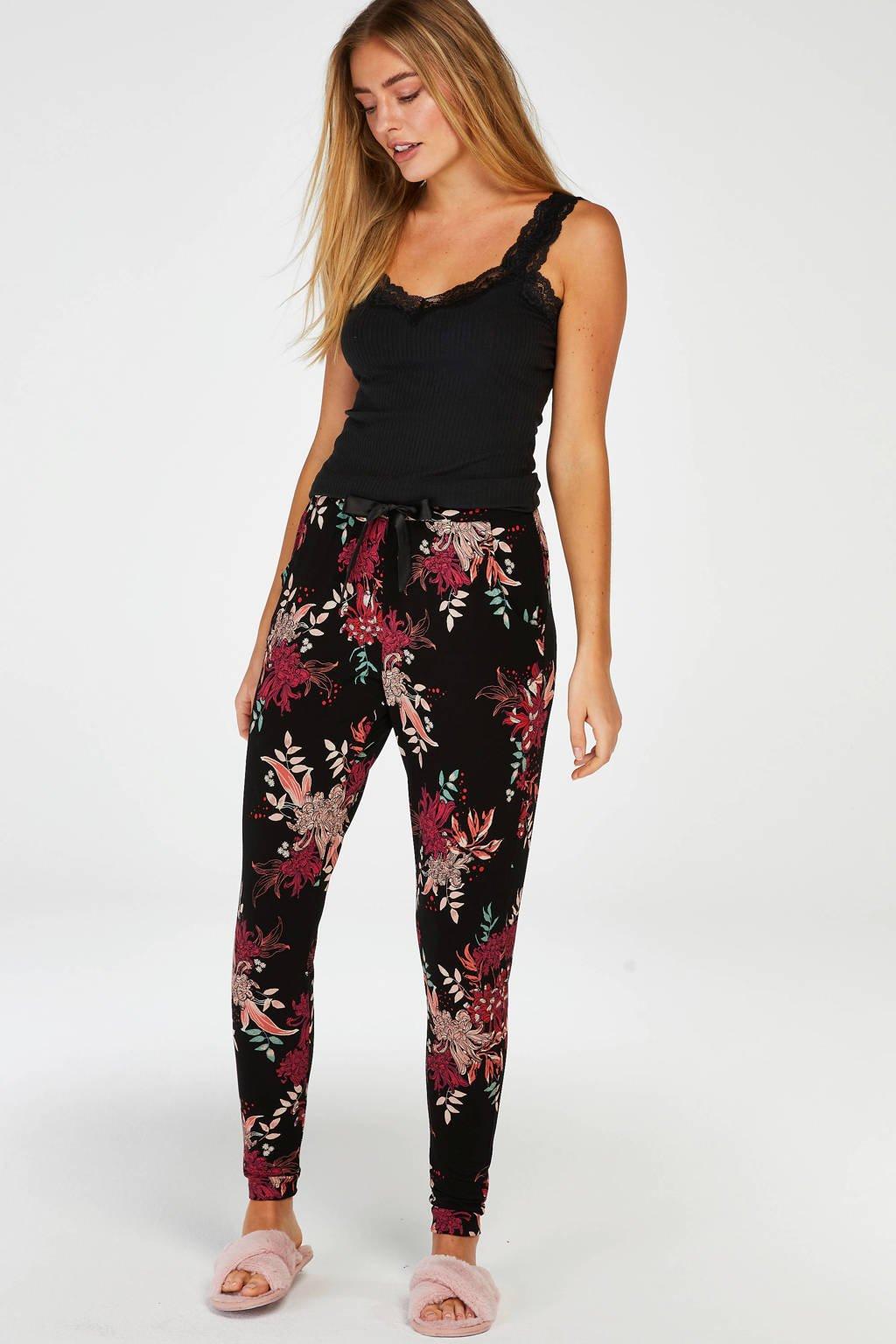 Hunkemöller gebloemde pyjamabroek zwart/roze, Zwart/roze