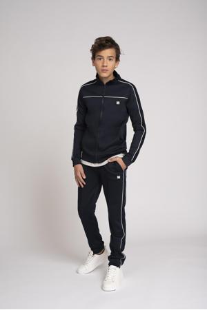 sportief vest Murry met contrastbies donkerblauw