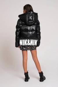 NIK&NIK gewatteerde winterjas Emory met tekst en 3D applicatie zwart, Zwart