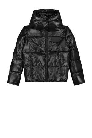 gewatteerde winterjas Emory met tekst en 3D applicatie zwart