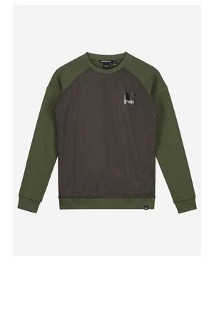 sweater Monzo mosgroen/antraciet