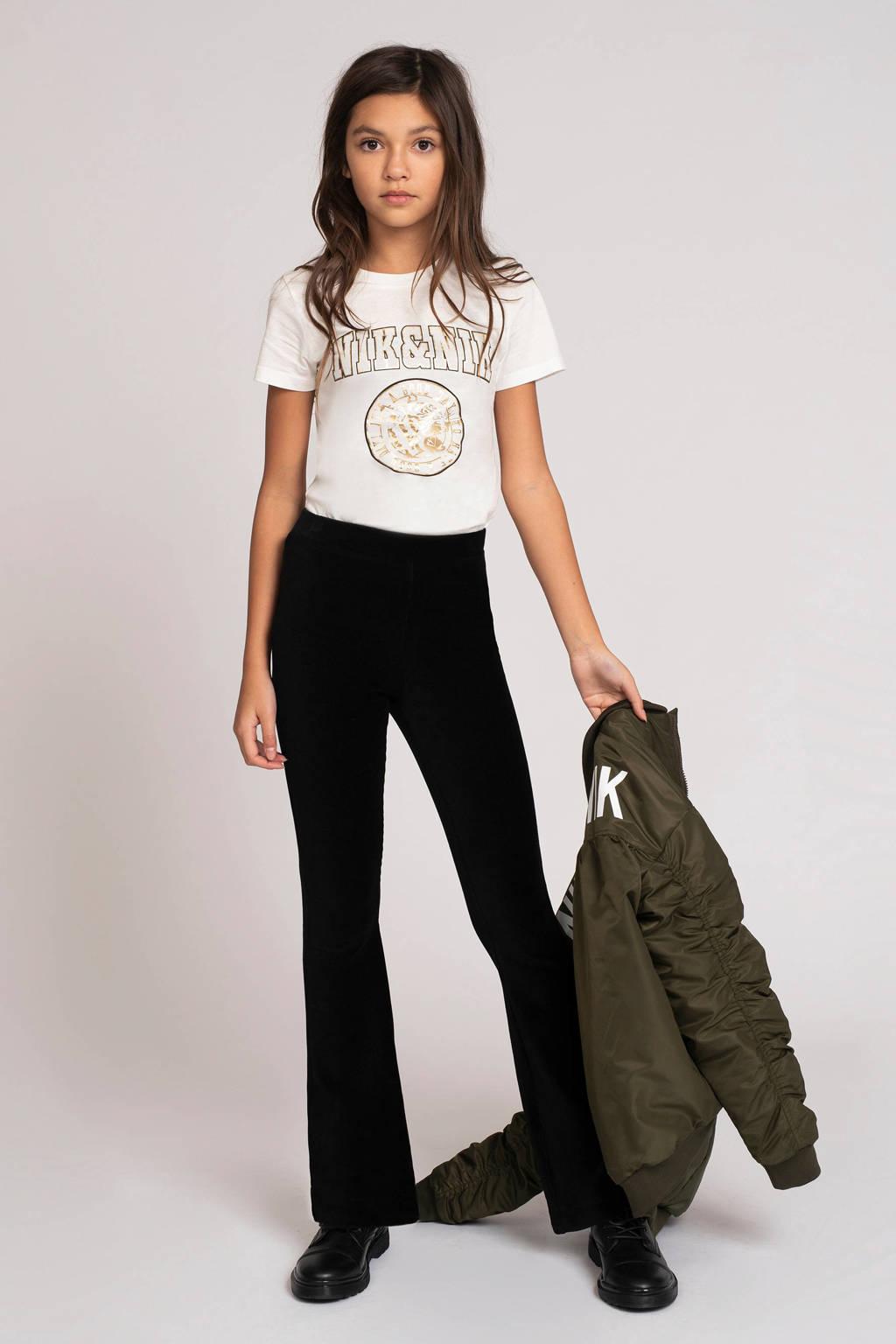 NIK&NIK T-shirt Poppy met logo off white, Off White