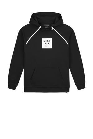 hoodie Maks met logo zwart/wit