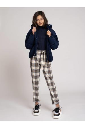 geruite regular fit broek Veer offwhite/bruin/blauw