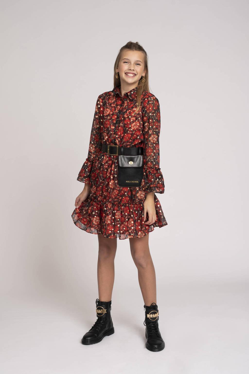 NIK&NIK gebloemde A-lijn jurk Vayen rood/zwart, Rood/zwart