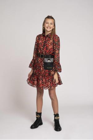 gebloemde A-lijn jurk Vayen rood/zwart