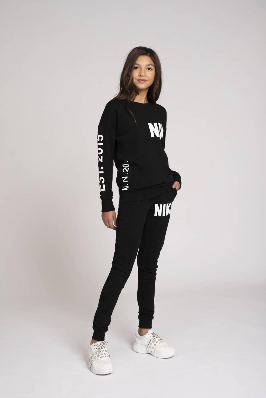 NIK&NIK sweater Polly met logo zwart/wit, Zwart/wit