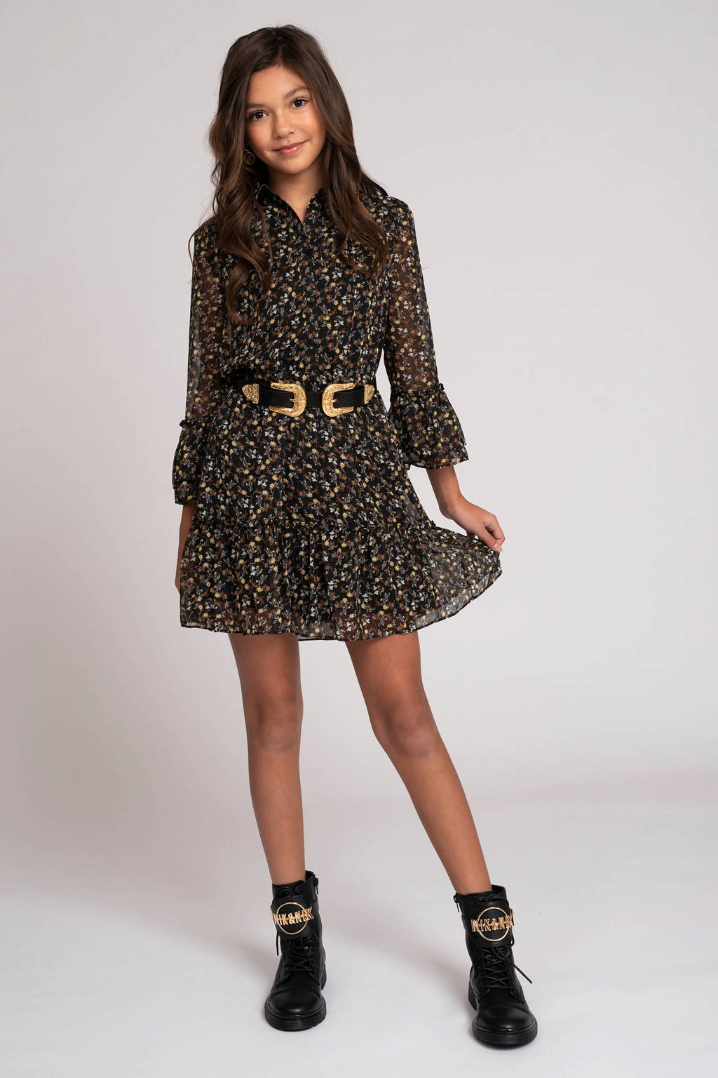 NIK&NIK gebloemde jurk Vaya zwart/geel/wit, Zwart/geel/wit