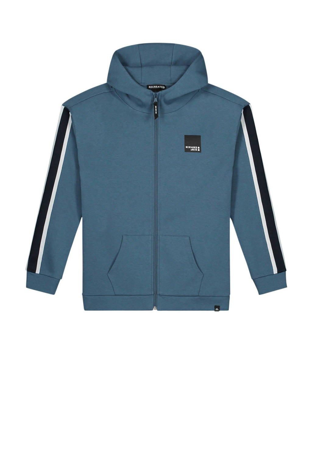 NIK&NIK vest Merlen met contrastbies blauw, Blauw