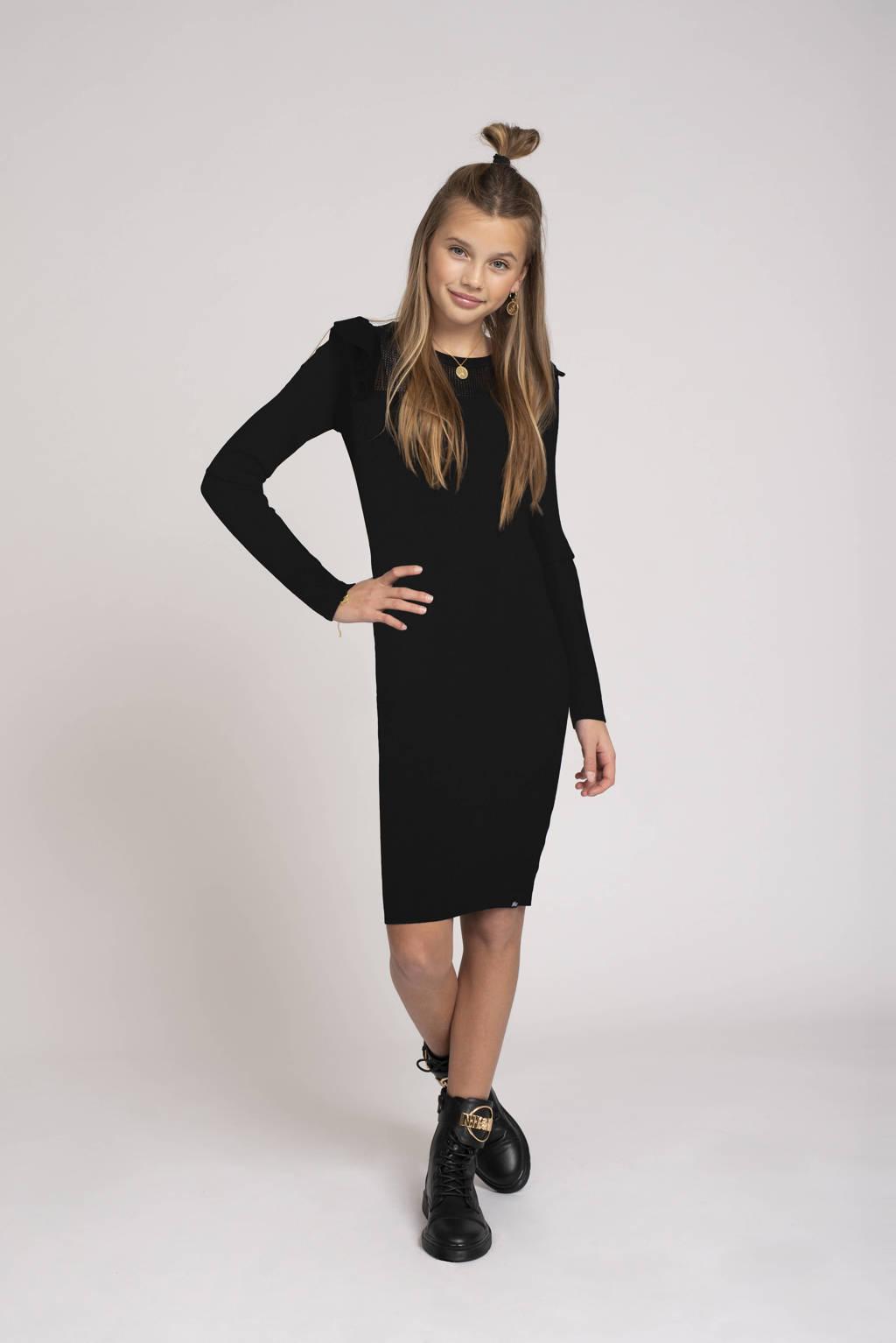 NIK&NIK semi-transparante jurk Albani Jolie met ruches zwart, Zwart