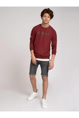 sweater Milo met logo donkerrood