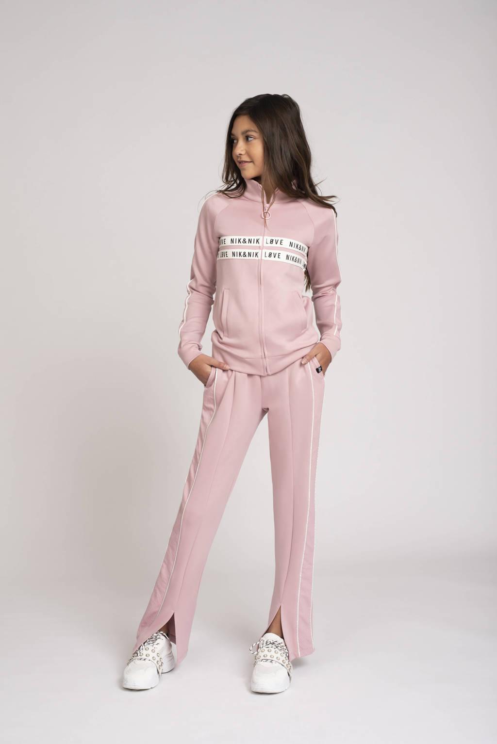 NIK&NIK joggingbroek Paige met zijstreep roze, Roze