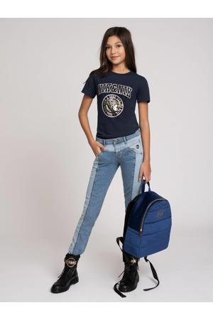 T-shirt Poppy met logo donkerblauw