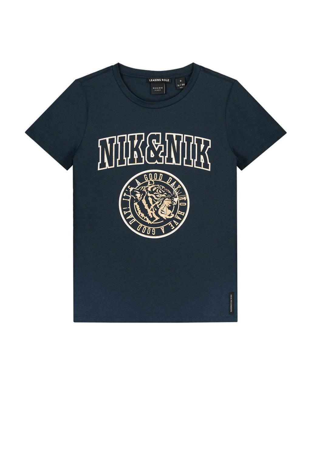 NIK&NIK T-shirt Poppy met logo donkerblauw, Donkerblauw
