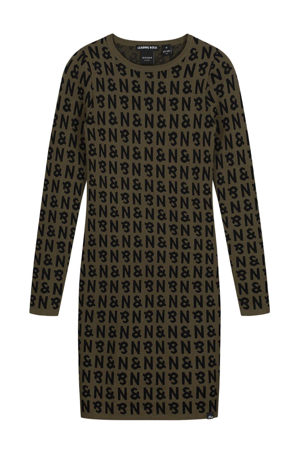 NIK&NIK jurk Aada met all over print army groen/zwart, Army groen/zwart