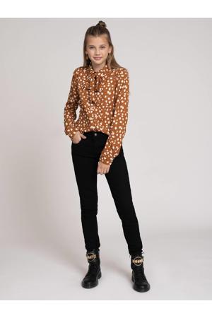 blouse Odet met dierenprint bruin/beige