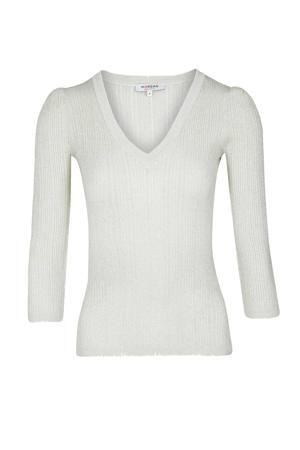 ribgebreide trui met glitters gebroken wit