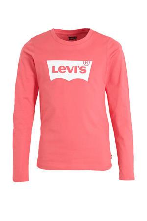 longsleeve Batwing met logo roze/wit