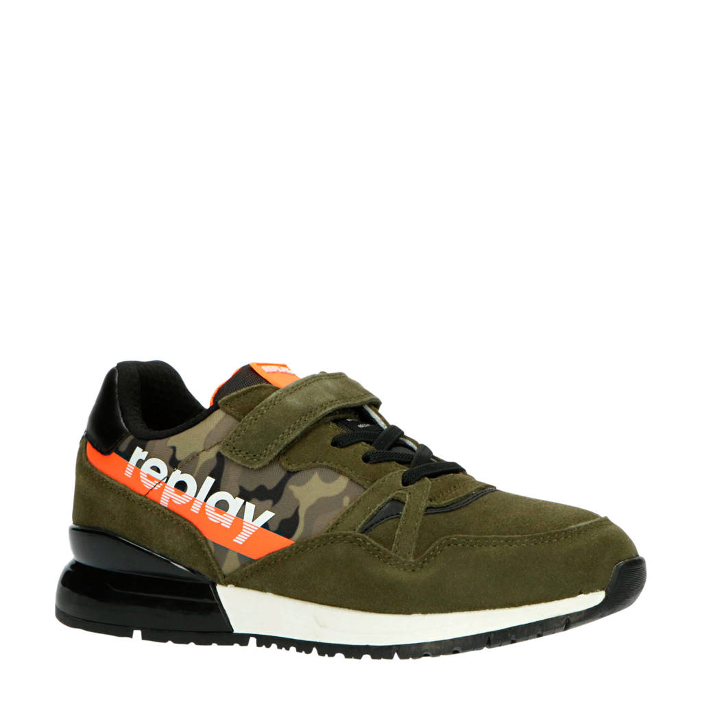 REPLAY Ribery  suède sneakers kaki/oranje