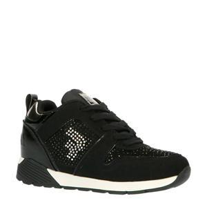 Paris  suède sneakers met strass steentjes zwart