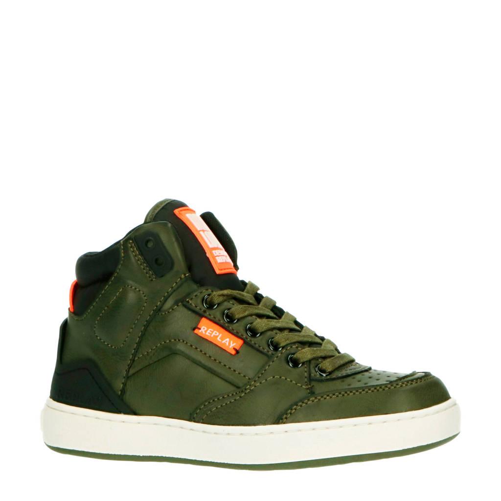 REPLAY Bokkai  hoge sneakers groen, Groen/oranje