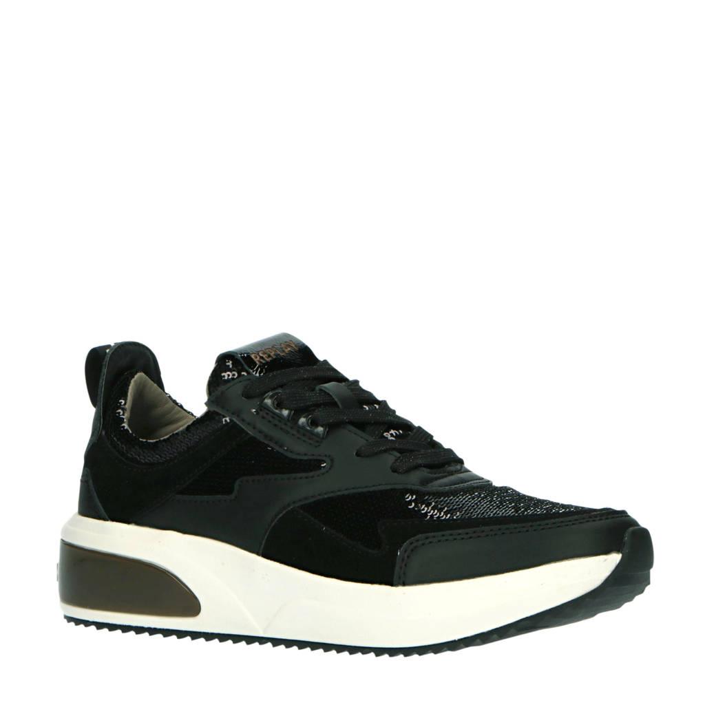 REPLAY Creation  sneakers met pailletten zwart, Zwart