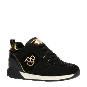 Paris  suède sneakers met strass steentjes zwart/goud
