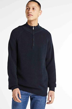 gebreide trui Shaker donkerblauw