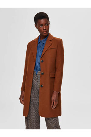 coat met wol roestbruin