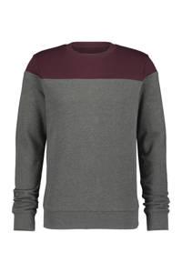 HEMA sweater grijs melange/aubergine, Grijs melange/aubergine