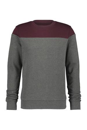 sweater grijs melange/aubergine