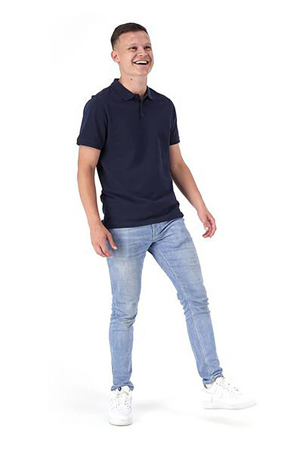 HEMA regular fit polo donkerblauw, Donkerblauw