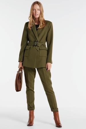 high waist slim fit broek Lyatt groen