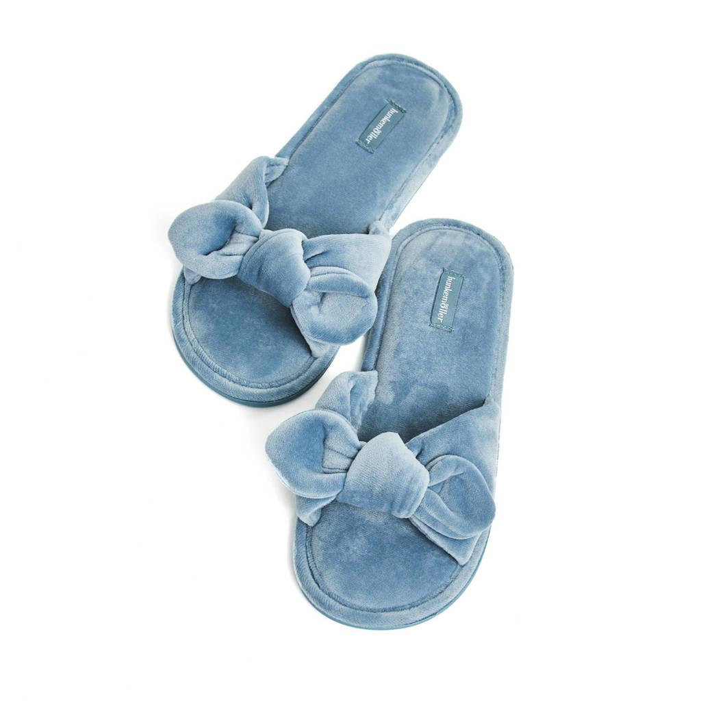 Hunkemöller velours huisslippers Knot lichtblauw, Lichtblauw