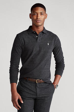 slim fit polo donkergrijs