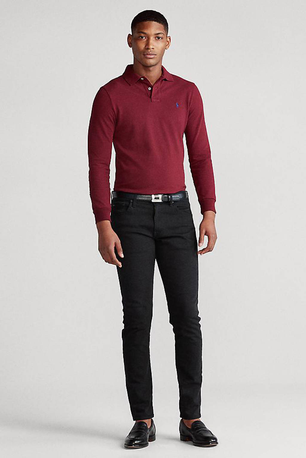 POLO Ralph Lauren slim fit polo donkerrood, Donkerrood