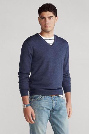 fijngebreide wollen trui blauw
